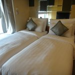 Room with double single beds