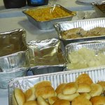 Macaroni & Cheese, Green Bean Casserole, Grilled Chicken, Mashed Potatoes, Rolls