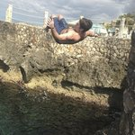 doing a flip from one of the cliffs