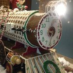 A giant gingerbread train in the lobby