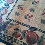 soiled area rug in teh master bedroom. It was a little damp the first few days.