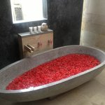 flower bath on arrival