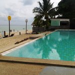Hotel pool, 40 metres from the ocean with a direct view of the sea