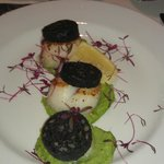Starter of Scallops and Blackpudding at the Christmas Day Meal