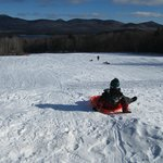 Going down the sledding hill