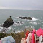 ピンクのハートが一杯の恋人岬