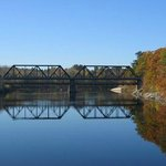 "The ""Black Bridge"" upstream from the Androscoggin Swinging Bridge"