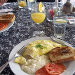 Crab & Goat Cheese Omlet with Grits & A Mimosa - Yum!