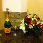 Flowers and fizz arranged by the hotel