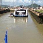 Entering the Miraflores Lock (Panama Canal) on the Pacific Queen