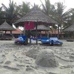 restaurant seating on the beach
