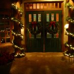 Beautiful holiday decorated main doors to Hotel Santa Fe