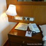 Desk area beside bed