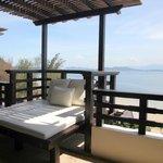 The verandah at the Kota Kinabalu suite with an ocean view