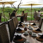 Breakfast on the deck overlooking waterhole