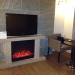 electric fireplace in our suite