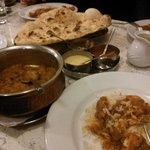 Curry with naan and rice