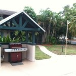 covered grill on the patio area