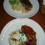 Beef Shortribs with Mac & Cheese (top), Pulled Pork with Perogies (bottom)