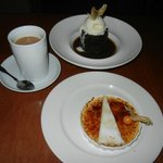 Gingerbread Cake with Vanilla Ice Cream (top) and Creme Brulee with Shortbread Cookie (bottom)