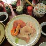 mixed sashimi - toro, yellowtail, flounder, shrimp