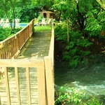 Our footbridge leads to the pool