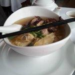 Roast Duck, wontons, and egg noodle soup