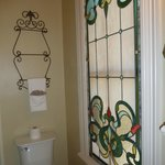 very pretty stained glass in the bathroom of the Gables room