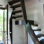 inside Pajaro Azul, stairs to the hammock room