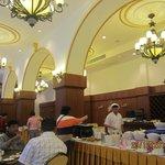 The restaurant offering buffet breakfast
