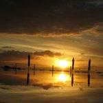 Solnedgång vid vuxenpoolen