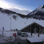 The view from the hotel to the ski school meeting arra