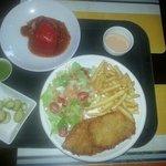 chicken schnitzel with stuffed bell pepper