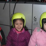 All the kids preparing themselves with the yellow helmet before to enter in the snow dome