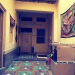 reception with traditional household temple and embroideries