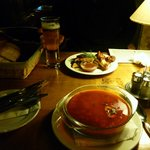 starter, chicken wings and beef goulash soup