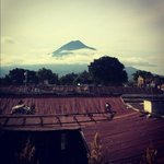 view of volcano from the rooftop terrace