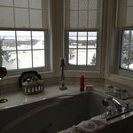 View of snow covered rolling hills from the jacuzzi!!