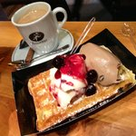 Waffles with Amarena and Cafe gelatto
