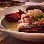 shrimp, calamari & mussels in white wine, celery, lemon & mushrooms