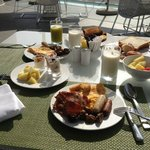 Breakfast from the buffet (outdoor terrace)