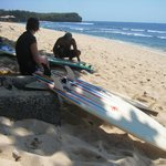 Preparing before surfing balangan