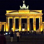 Brandenburg gate at night from hotel