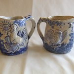 Dedham Pottery Morning and Night pitchers