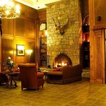 Lobby with cozy fireplace