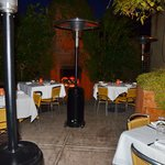 Outdoor seating under very effective heaters