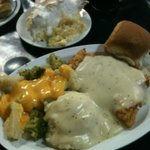 Country Fried Steak Dinner and Pineapple Cream Pie