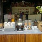 Juice station at breakfast