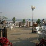 Open air area of beach restaurant