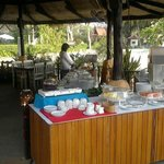 Breakfast at beach restaurant - coffee and fruit buffet